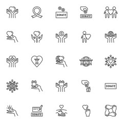 Charity line icons set. linear style symbols collection, outline signs pack. vector graphics. Set includes icons as donate box, money donation hand, awareness ribbon, heart care, humanity, gift box