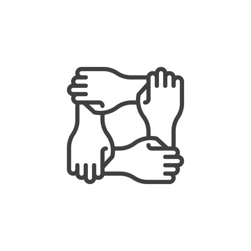 Solidarity hands line icon. linear style sign for mobile concept and web design. Four hands hold together outline vector icon. Charity organization and donation community symbol, logo illustration.