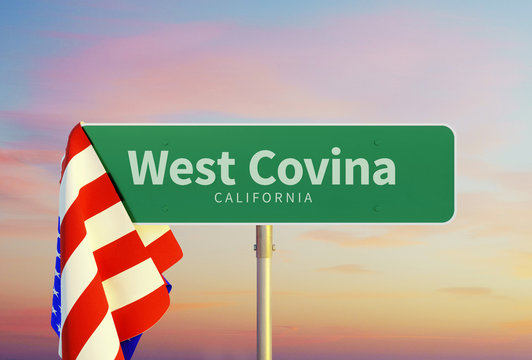 West Covina – California. Road or Town Sign. Flag of the united states. Sunset oder Sunrise Sky. 3d rendering