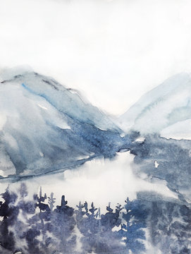 watercolor landscape, norway, nature of norway, coniferous forest watercolor illustration