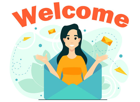 concept welcome subscription email newsletter woman from letters mail