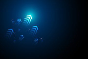 Blue light arrows up on black background, copy space composition, business grow concept. Wall mural