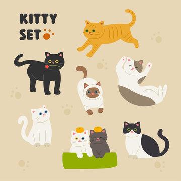 Set of hands illustration style cute cats. flat design style minimal vector illustration.