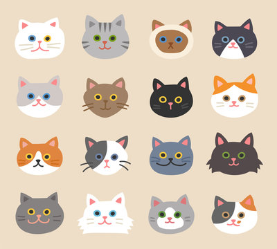 Set of cute cat faces with hand-drawn style. flat design style minimal vector illustration.