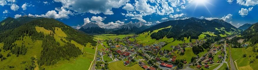Aerial 360° Panorama of Lermoos Austria