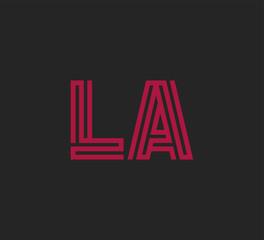 Initial two letter red line shape logo on black vector LA