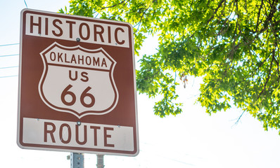 Fotobehang Route 66 Route 66 sign inTulsa Oklahoma USA. Sunny spring day