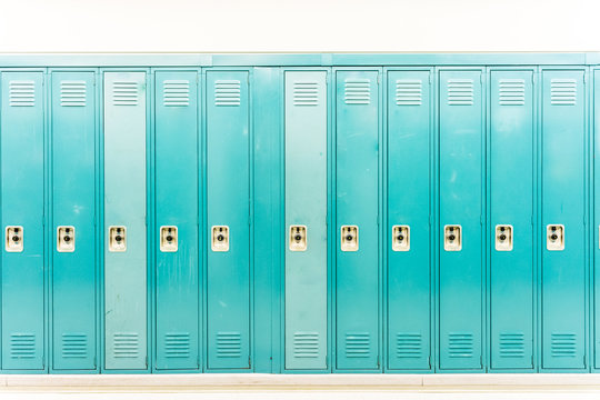 Row of bright colored school lockers