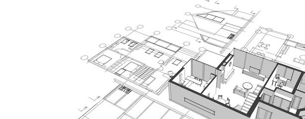 Obraz house architectural project sketch 3d illustration - fototapety do salonu