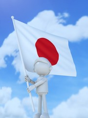 国旗を掲げる日本のスポーツ選手