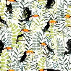 Tuinposter Botanisch Vector background, element of seamless pattern . Toucans in green leaves