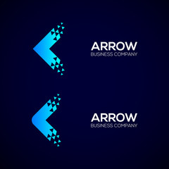 Set of Abstract Blue Arrow Next Pixel Dots logo with Triangle, Technology and digital Signs, Fly Forward Express Symbols, Square and Circle shape Vector Design Elements for Business Company