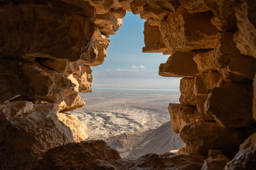 View from Masada ruins over the desert in israel
