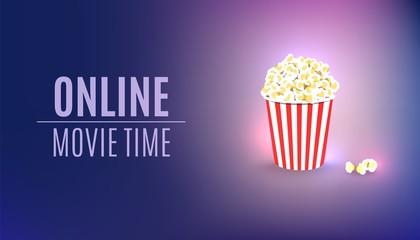 Online movie time background. Popcorn cinema concept. Theater cinematography poster. Online cinema art movie watching.