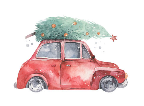 Watercolor christmas holiday card transportation illustration. Merry Xmas winter tree design. Hand painted New year retro vintage cars