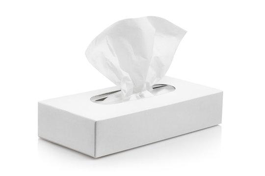 White tissue box, isolated on white background