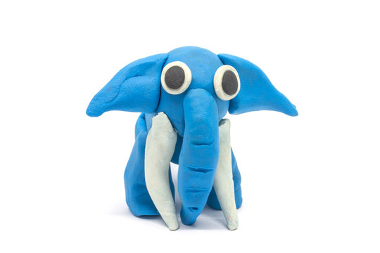 Play dough Elephant on white background. Handmade clay plasticine