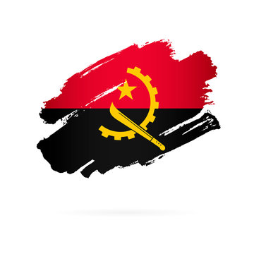 Angolan flag. Vector illustration on white background.