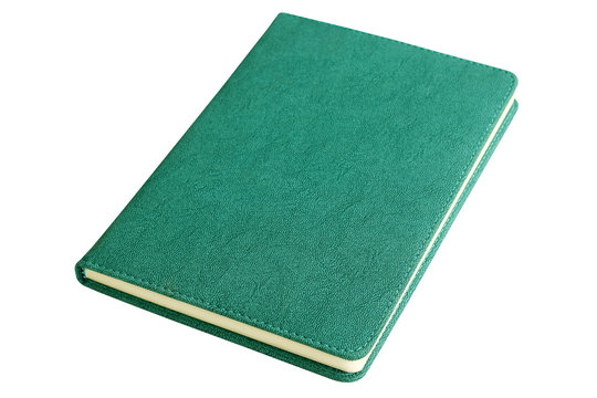 Blank dark green leather notebook isolated on white background.