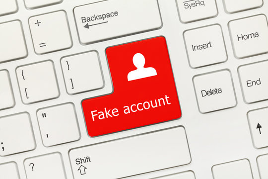 White conceptual keyboard - Fake account (red key)