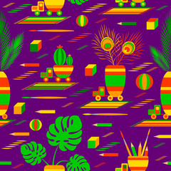 Toy cars driven houseplants. Toys, ball, pencil, feathers, flowers, rugs, cubes. Seamless pattern.