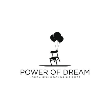 Logo chair with balloon for studio or film production and more - silhouette