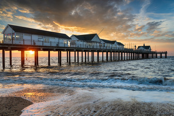 Wall Mural - Sunrise over the pier at Southwold,