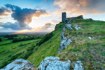 Wall Mural - Sunset over Brentor on the edge of Dartmoor