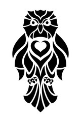 Black and white tattoo art with stylized owl