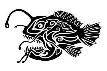 Black and white tattoo art with stylized monkfish
