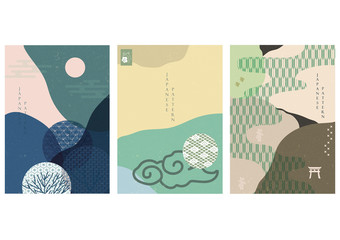 Japanese template with icon and element vector. Nature decoration background with Japanese pattern.