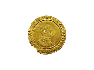 King Edward VI 1547- 1553 Gold Half Sovereign Coin cut out and isolated on a white background