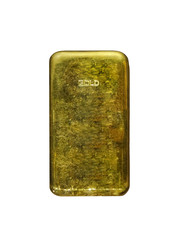 Gold bar ingot cut out and isolated on a white background
