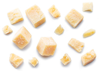 Wall Mural - Parmesan cheese cubes and parmesan crumbs isolated on white background.