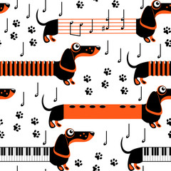 Dachshund dogs in the form of musical instruments and notes