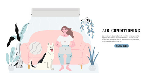 A woman sitting comfortably in a room equiped with an air conditioning or cooling system during hot summer days and escaping heat. A banner with a girl and her dog working or chatting on her laptop.