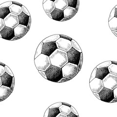 Football backdrop. Hand drawn seamless pattern with sketch style soccer balls. Black on white. Monochrome vector background.