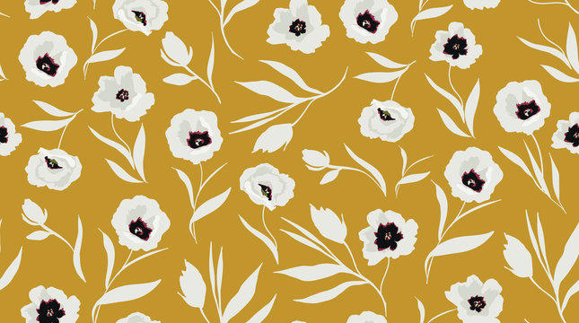 trendy seamless floral pattern. white flowers on yellow background. vector illustration