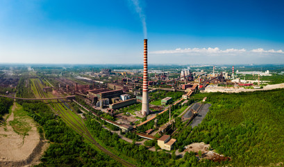 Industrial landscape with heavy pollution produced by a large factory Fototapete