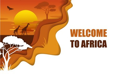 Welcome to Africa poster, vector paper cut illustration