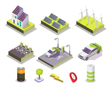 Alternative energy set, vector flat isometric illustration