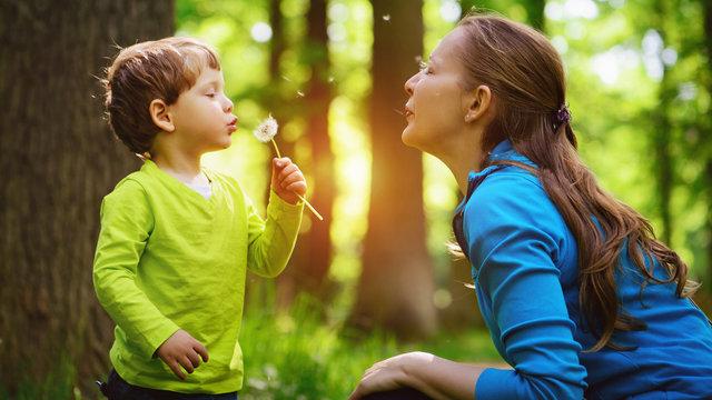 Little boy blowing dandelion.