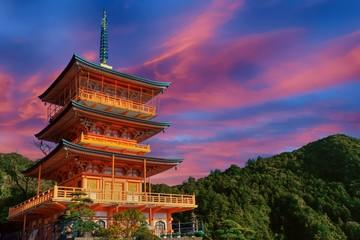 Printed kitchen splashbacks Place of worship Sunset over Japanese pagoda