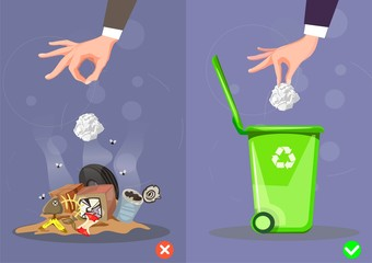 Do not throw littering butts on the floor,wrong and right. Vector illustration.