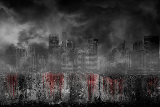 Bloody background scary on damaged grungy crack and broken concrete wall in abandoned large cities are covered with smoke from the civil war