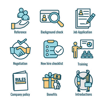 Hiring Process icon set with Benefits, background check, introductions, etc