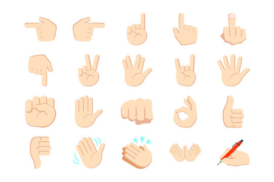 Set of hands icons and symbols, emoji, different hands, gestures, signals and signs, vector illustration