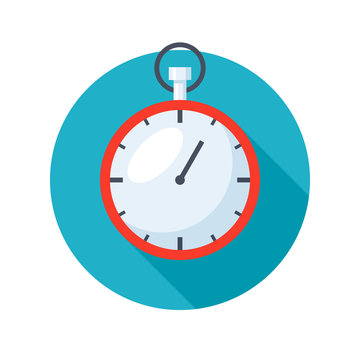 Stylish stopwatch icon with long shadows on white background