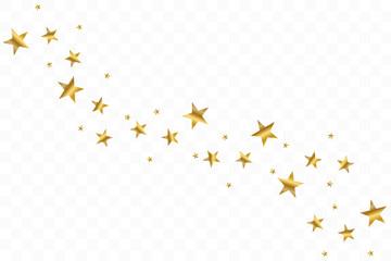 Falling golden stars. Cloud of golden stars isolated on transparent background. Vector illustration Fototapete