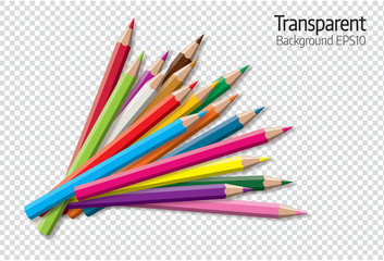 Set of colored pencil collection - isolated vector illustration colorful pencils on transparent background.
